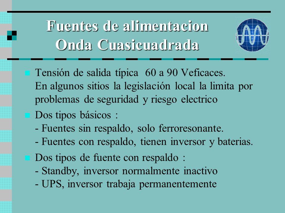 Fuentes de alimentacion Onda Cuasicuadrada Tensión de salida típica 60 a 90 Veficaces.