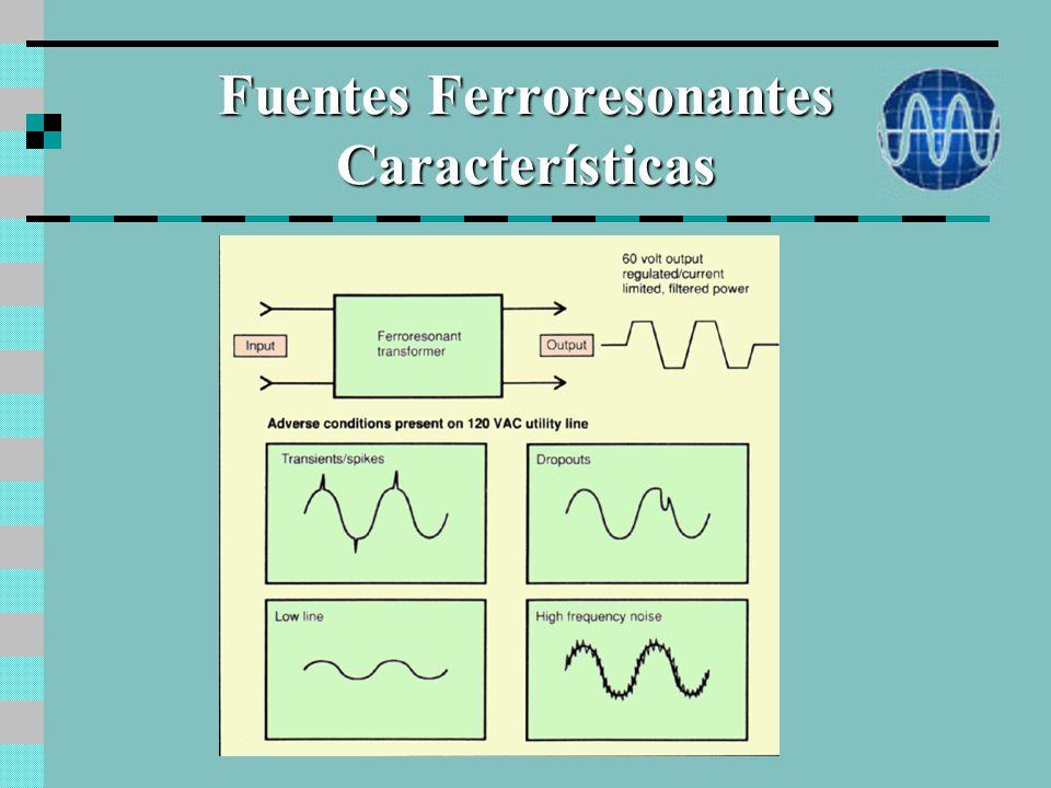Fuentes Ferroresonantes Características Estabiliza la tensión de salida frente a variaciones de la tensión de entrada y de la carga. Valor tipico de v