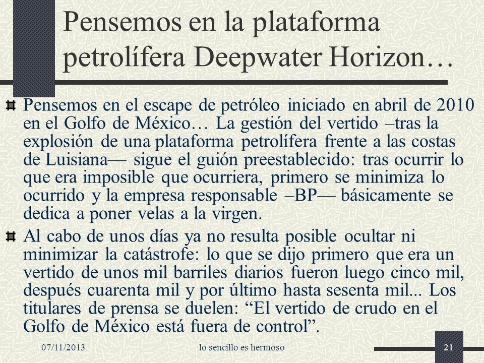 07/11/2013lo sencillo es hermoso21 Pensemos en la plataforma petrolífera Deepwater Horizon… Pensemos en el escape de petróleo iniciado en abril de 201