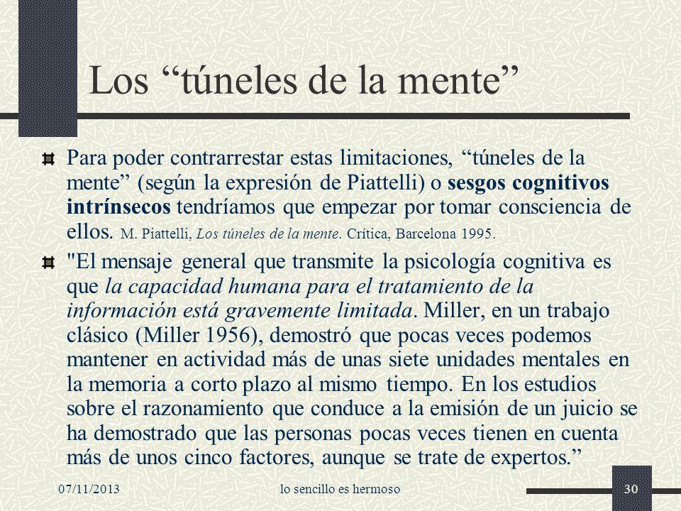 07/11/2013lo sencillo es hermoso30 Los túneles de la mente Para poder contrarrestar estas limitaciones, túneles de la mente (según la expresión de Pia