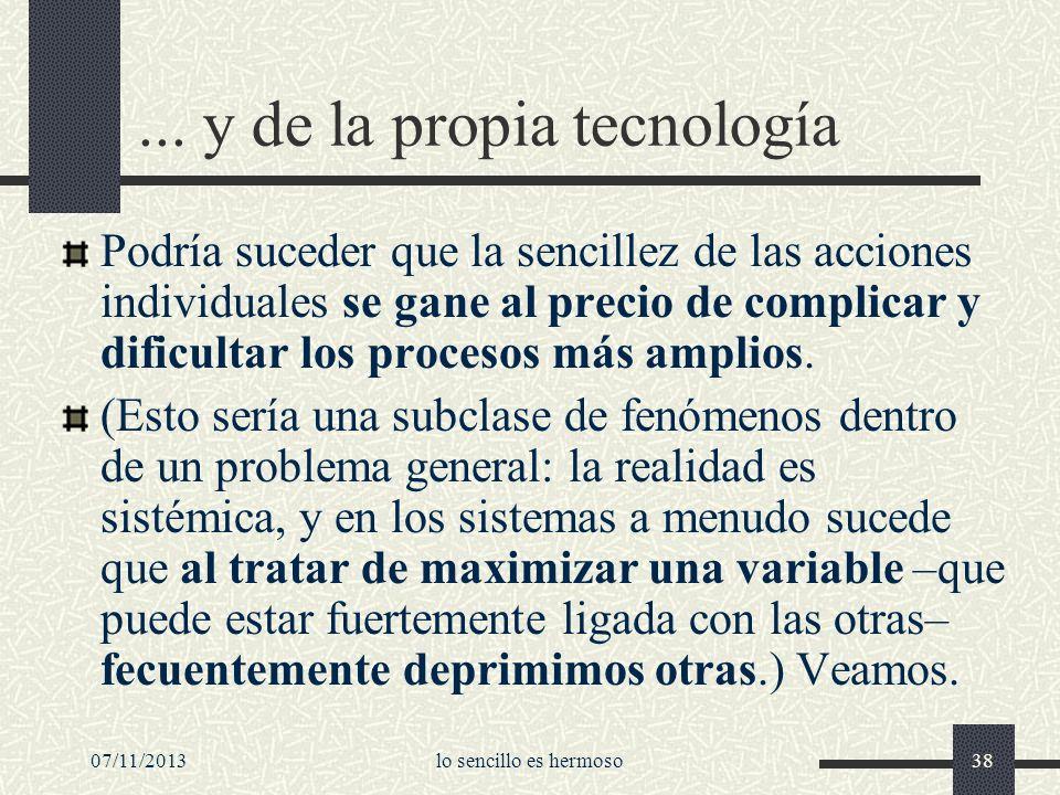 07/11/2013lo sencillo es hermoso38... y de la propia tecnología Podría suceder que la sencillez de las acciones individuales se gane al precio de comp
