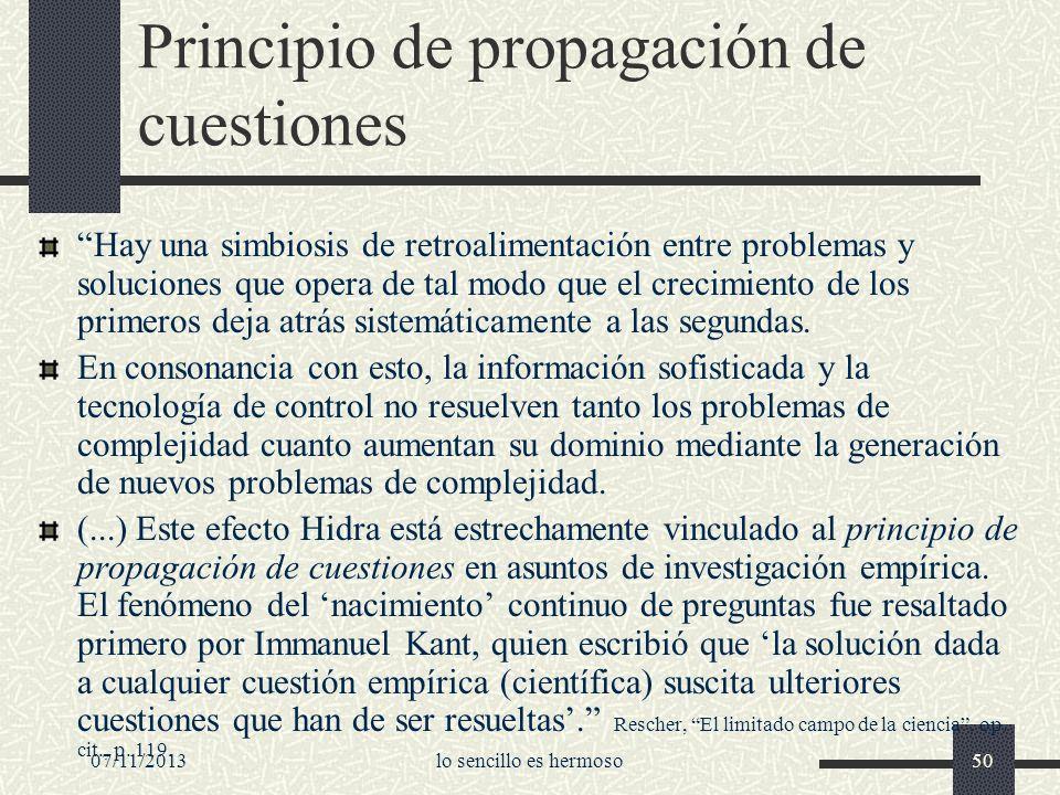 07/11/2013lo sencillo es hermoso50 Principio de propagación de cuestiones Hay una simbiosis de retroalimentación entre problemas y soluciones que oper