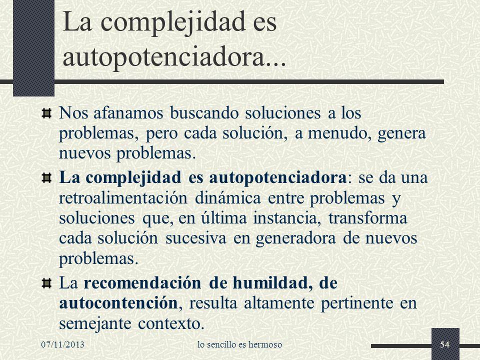 07/11/2013lo sencillo es hermoso54 La complejidad es autopotenciadora... Nos afanamos buscando soluciones a los problemas, pero cada solución, a menud