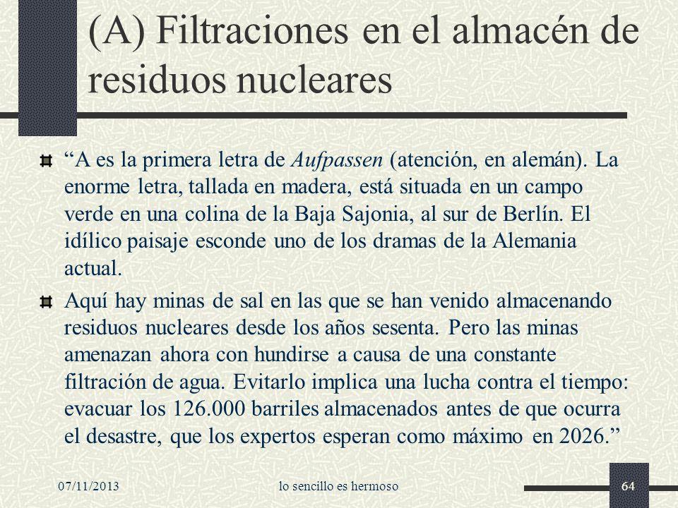 (A) Filtraciones en el almacén de residuos nucleares A es la primera letra de Aufpassen (atención, en alemán). La enorme letra, tallada en madera, est