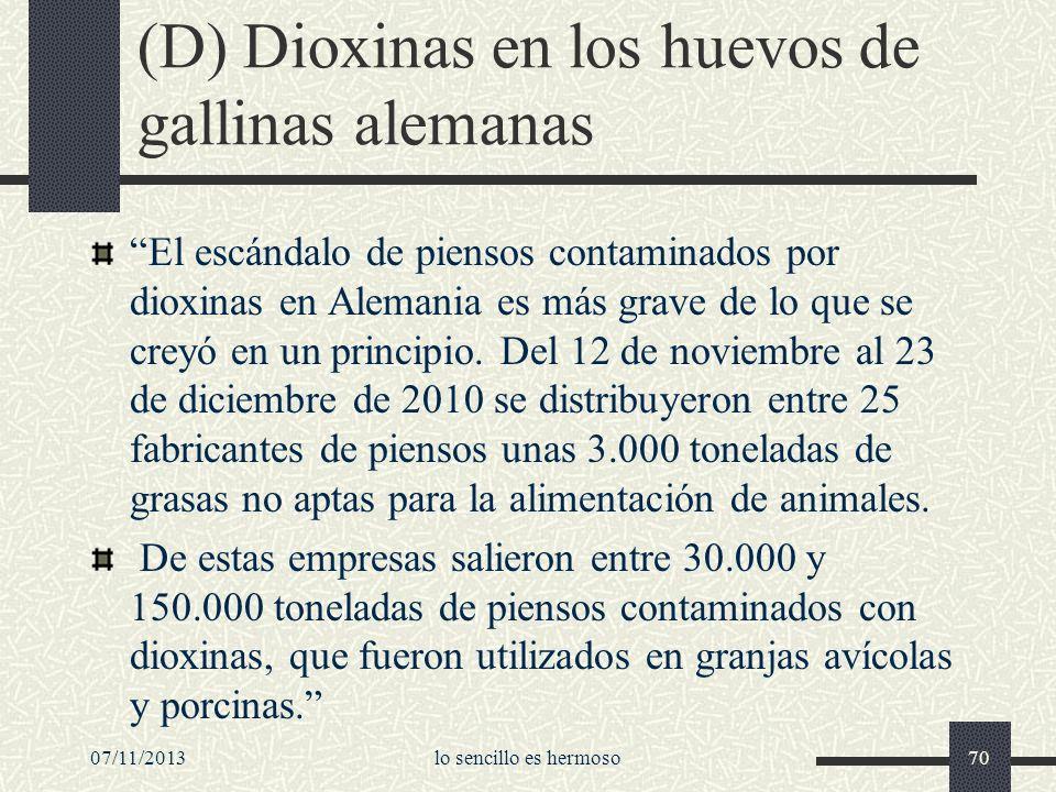 (D) Dioxinas en los huevos de gallinas alemanas El escándalo de piensos contaminados por dioxinas en Alemania es más grave de lo que se creyó en un pr