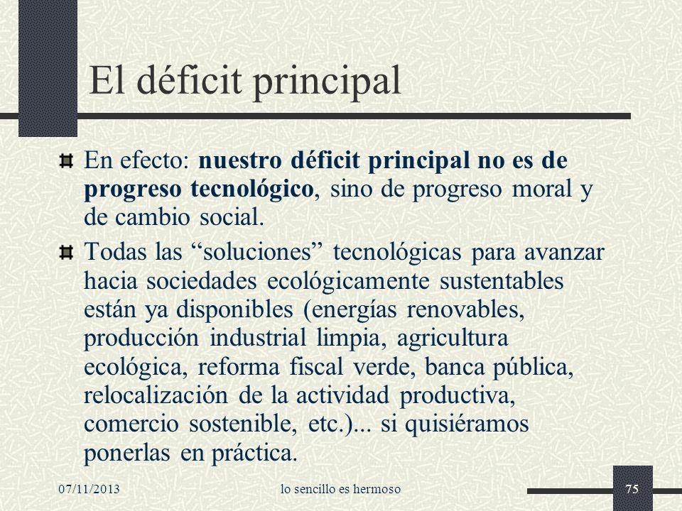 07/11/2013lo sencillo es hermoso75 El déficit principal En efecto: nuestro déficit principal no es de progreso tecnológico, sino de progreso moral y d
