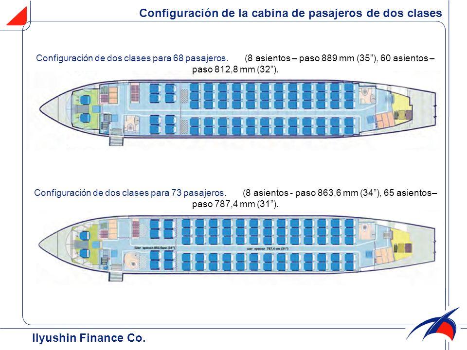 Configuración de la cabina de pasajeros de dos clases Configuración de dos clases para 68 pasajeros. (8 asientos – paso 889 mm (35), 60 asientos – pas
