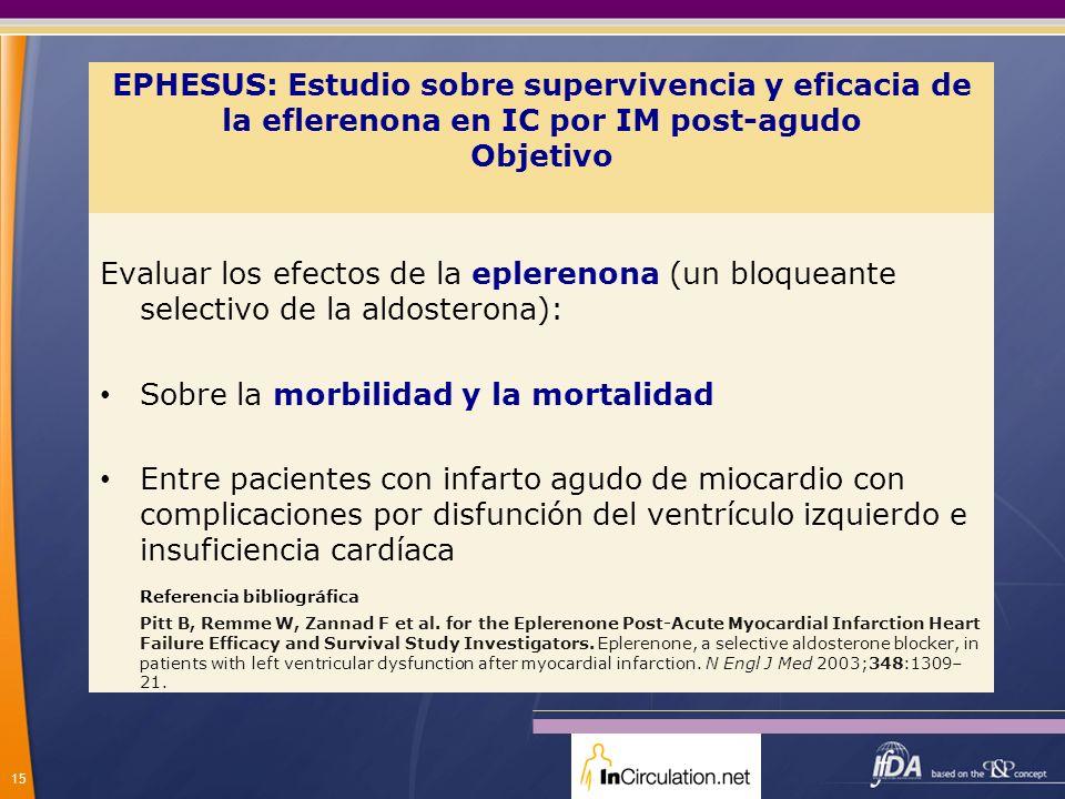 15 EPHESUS: Estudio sobre supervivencia y eficacia de la eflerenona en IC por IM post-agudo Objetivo Evaluar los efectos de la eplerenona (un bloquean
