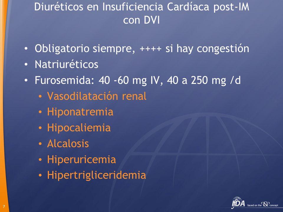 7 Diuréticos en Insuficiencia Cardíaca post-IM con DVI Obligatorio siempre, ++++ si hay congestión Natriuréticos Furosemida: 40 -60 mg IV, 40 a 250 mg