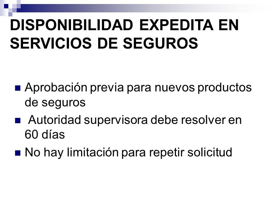 Aprobación previa para nuevos productos de seguros Autoridad supervisora debe resolver en 60 días No hay limitación para repetir solicitud DISPONIBILI