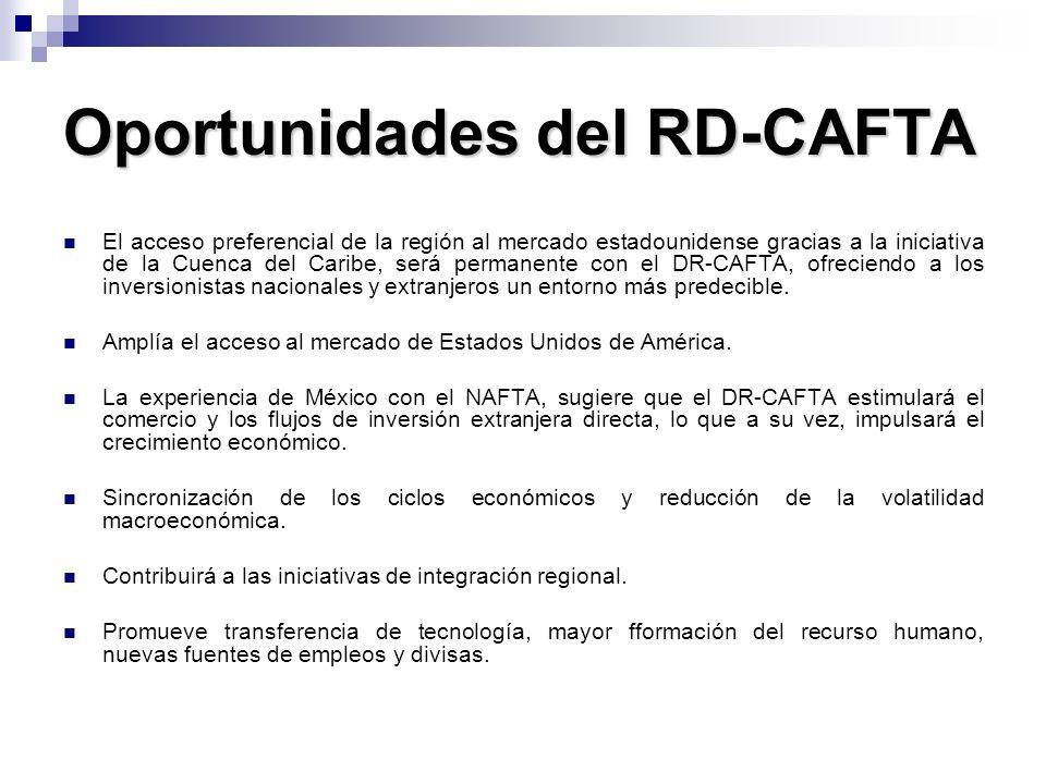 Oportunidades del RD-CAFTA El acceso preferencial de la región al mercado estadounidense gracias a la iniciativa de la Cuenca del Caribe, será permane