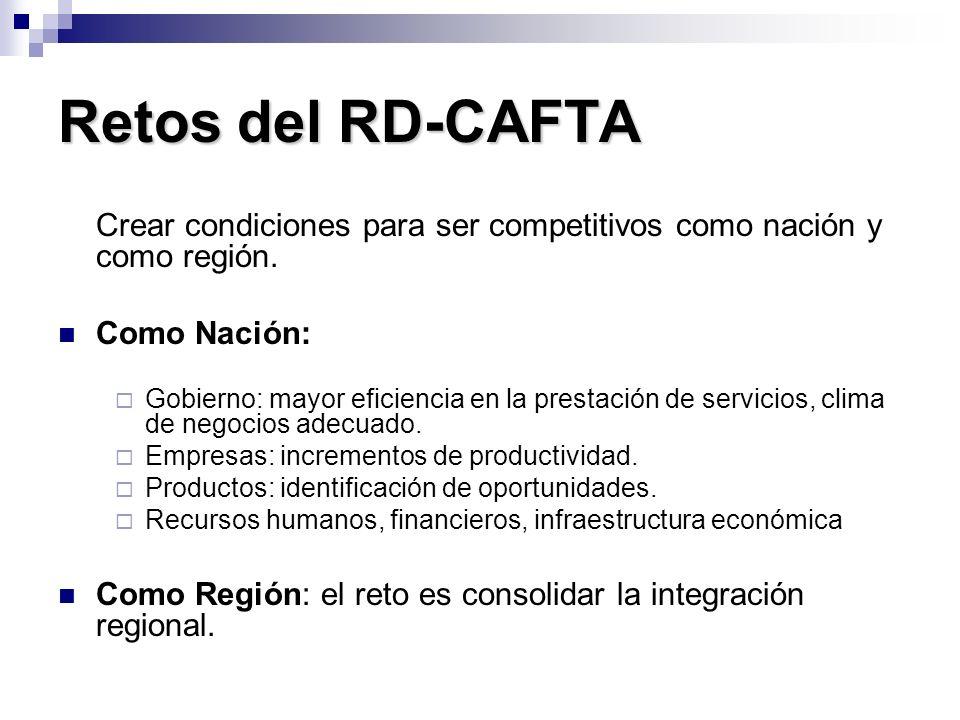 Retos del RD-CAFTA Crear condiciones para ser competitivos como nación y como región. Como Nación: Gobierno: mayor eficiencia en la prestación de serv