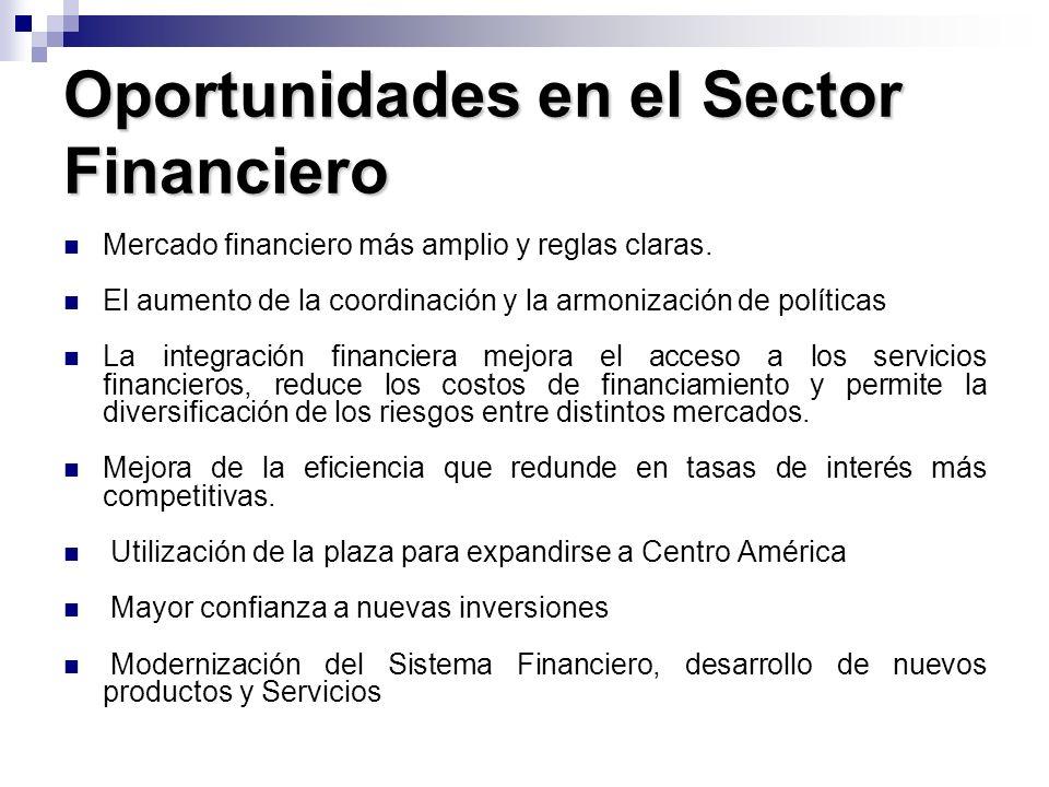 Oportunidades en el Sector Financiero Mercado financiero más amplio y reglas claras. El aumento de la coordinación y la armonización de políticas La i