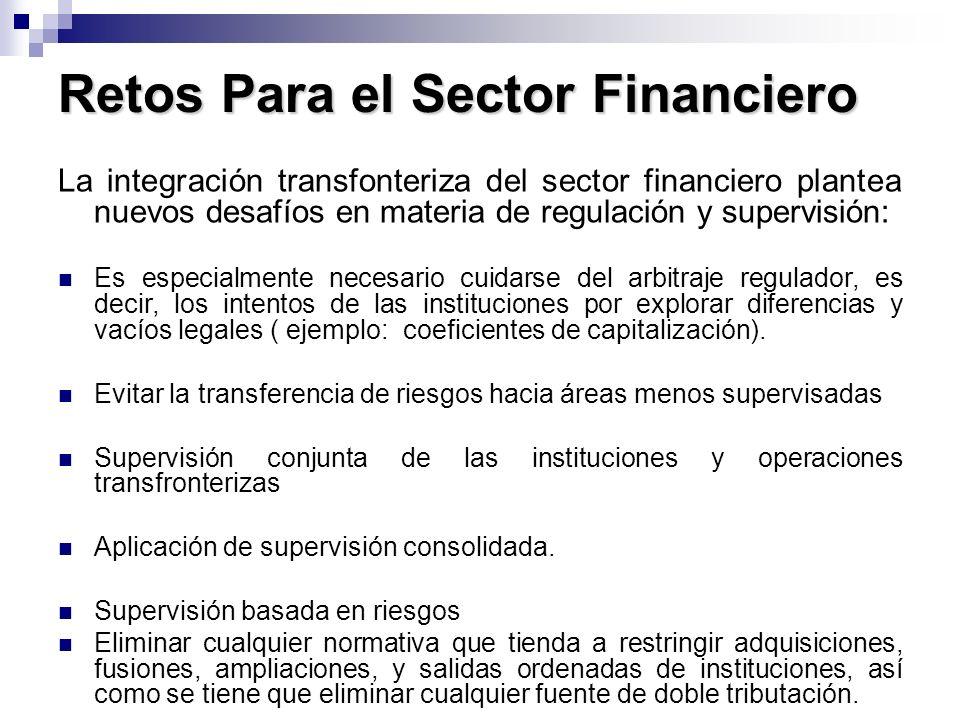 Retos Para el Sector Financiero La integración transfonteriza del sector financiero plantea nuevos desafíos en materia de regulación y supervisión: Es