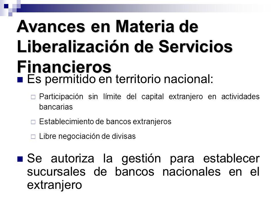 Avances en Materia de Liberalización de Servicios Financieros Es permitido en territorio nacional: Participación sin límite del capital extranjero en
