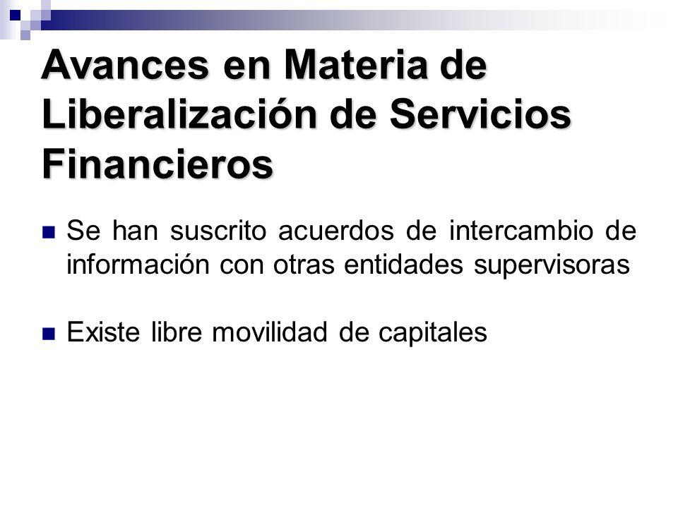 Avances en Materia de Liberalización de Servicios Financieros Se han suscrito acuerdos de intercambio de información con otras entidades supervisoras