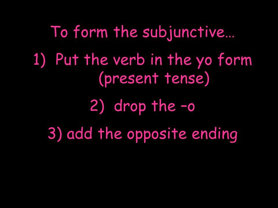 The present subjunctive of regular verbs hablar comer escribir hable hables hable hablemos habléis hablen coma comas coma comamos comáis coman escriba escribas escriba escribamos escribáis escriban yo tú él,ella,Ud.