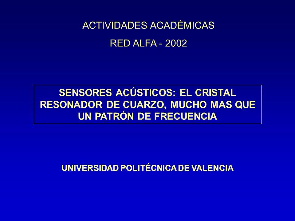 SENSORES ACÚSTICOS: EL CRISTAL RESONADOR DE CUARZO, MUCHO MAS QUE UN PATRÓN DE FRECUENCIA UNIVERSIDAD POLITÉCNICA DE VALENCIA ACTIVIDADES ACADÉMICAS R