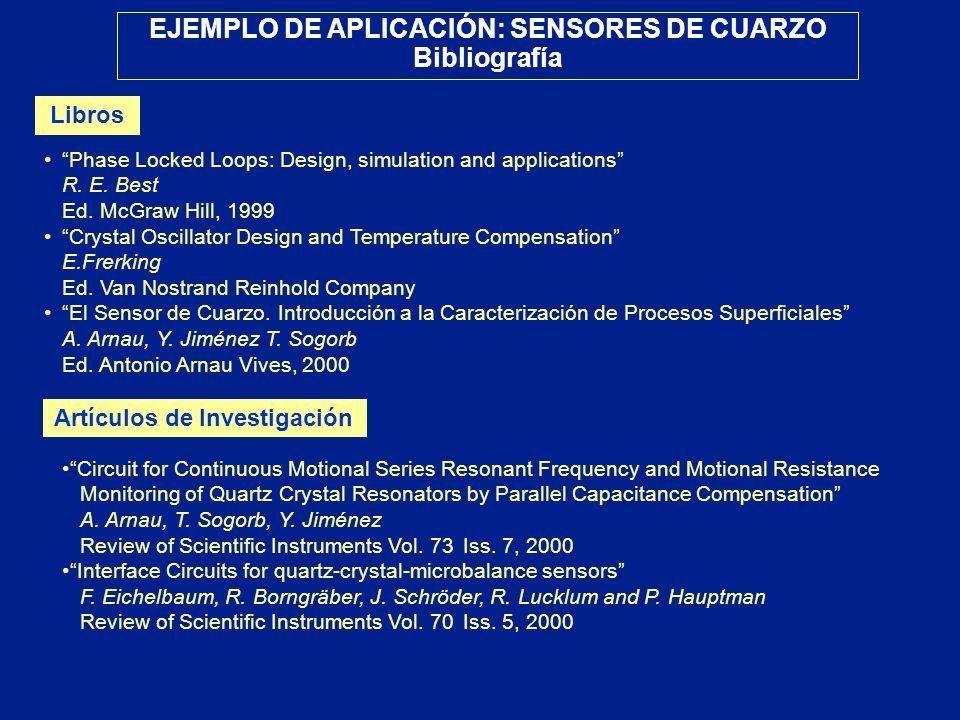 EJEMPLO DE APLICACIÓN: SENSORES DE CUARZO Bibliografía Libros Phase Locked Loops: Design, simulation and applications R. E. Best Ed. McGraw Hill, 1999