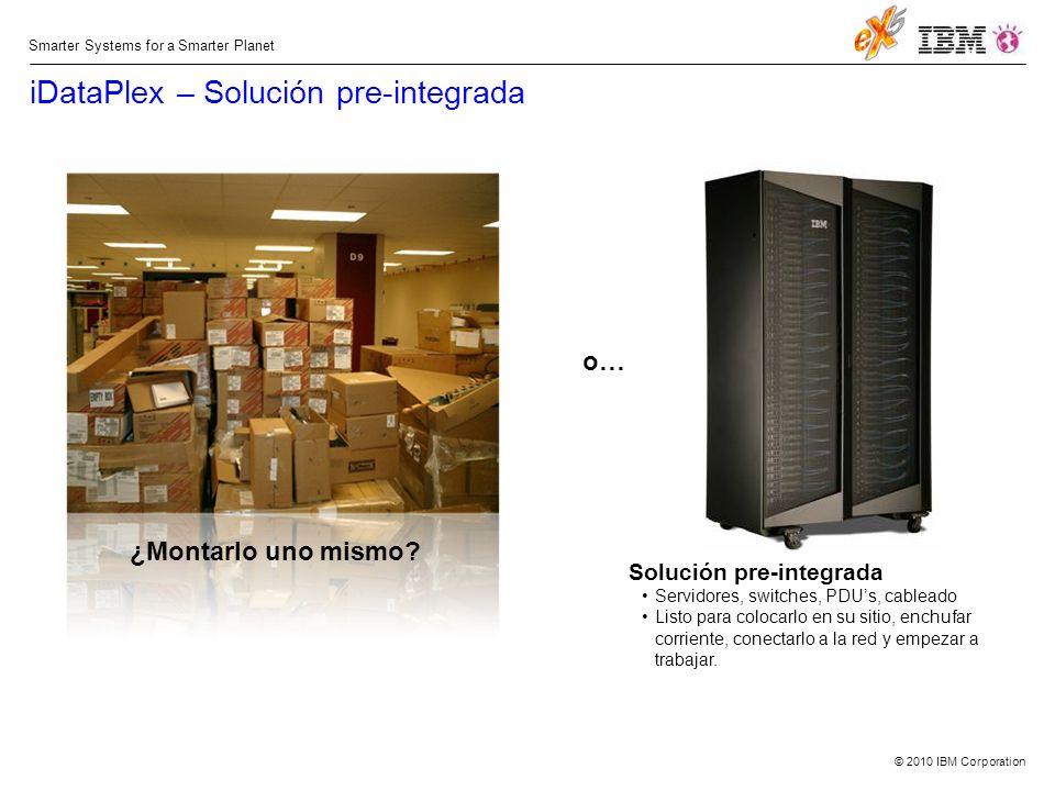 © 2010 IBM Corporation Smarter Systems for a Smarter Planet Solución pre-integrada Servidores, switches, PDUs, cableado Listo para colocarlo en su sitio, enchufar corriente, conectarlo a la red y empezar a trabajar.