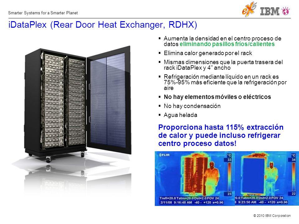 © 2010 IBM Corporation Smarter Systems for a Smarter Planet iDataPlex (Rear Door Heat Exchanger, RDHX) Aumenta la densidad en el centro proceso de datos eliminando pasillos fríos/calientes Elimina calor generado por el rack Mismas dimensiones que la puerta trasera del rack iDataPlex y 4 ancho Refrigeración mediante líquido en un rack es 75%-95% más eficiente que la refrigeración por aire No hay elementos móviles o eléctricos No hay condensación Agua helada Proporciona hasta 115% extracción de calor y puede incluso refrigerar centro proceso datos!