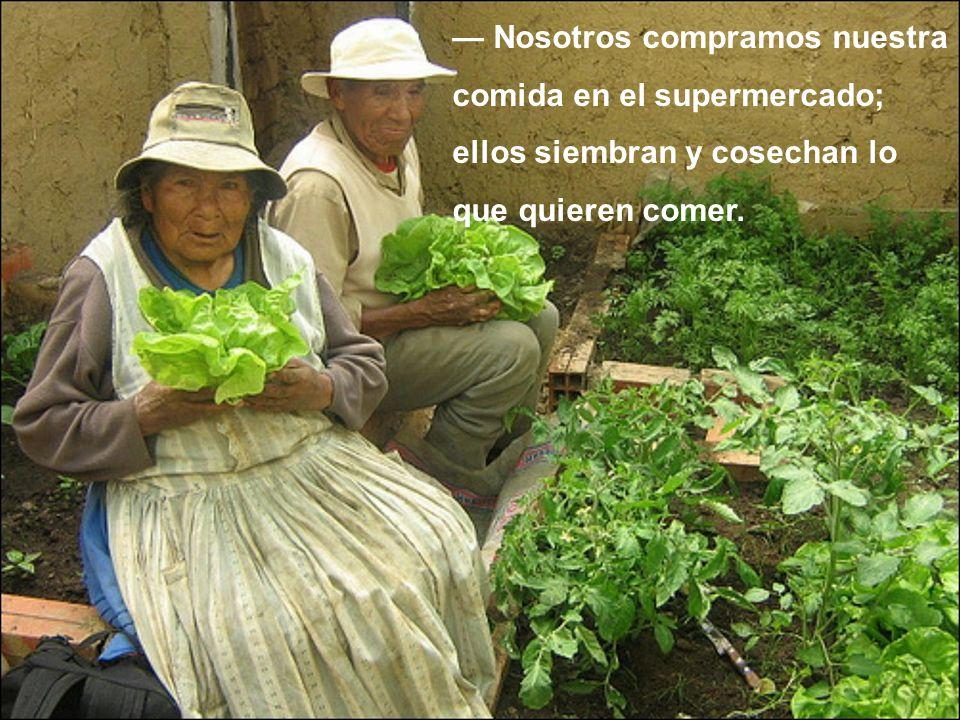 Nosotros compramos nuestra comida en el supermercado; ellos siembran y cosechan lo que quieren comer.