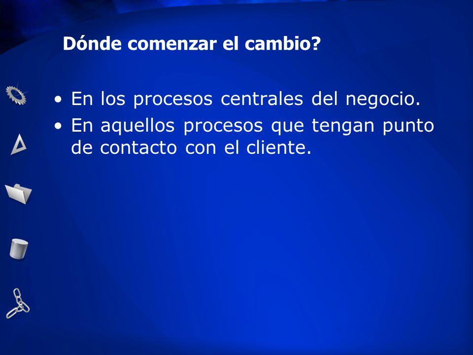 Dónde comenzar el cambio? En los procesos centrales del negocio. En aquellos procesos que tengan punto de contacto con el cliente.