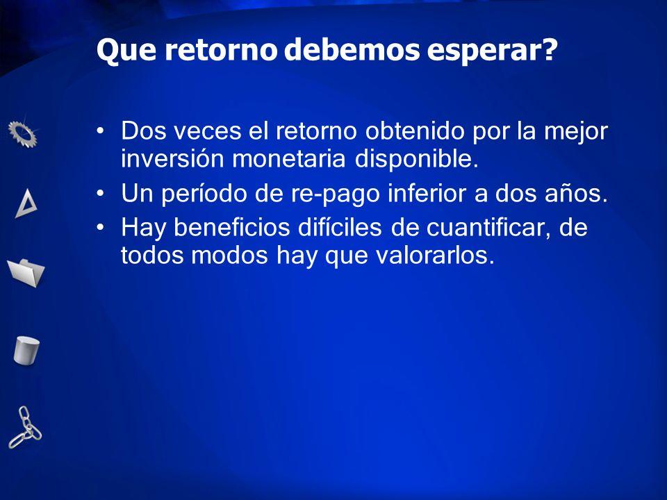Que retorno debemos esperar? Dos veces el retorno obtenido por la mejor inversión monetaria disponible. Un período de re-pago inferior a dos años. Hay