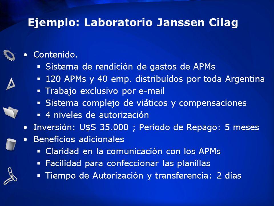 Ejemplo: Laboratorio Janssen Cilag Contenido. Sistema de rendición de gastos de APMs 120 APMs y 40 emp. distribuídos por toda Argentina Trabajo exclus