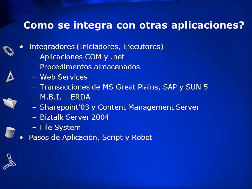 Como se integra con otras aplicaciones? Integradores (Iniciadores, Ejecutores) –Aplicaciones COM y.net –Procedimentos almacenados –Web Services –Trans