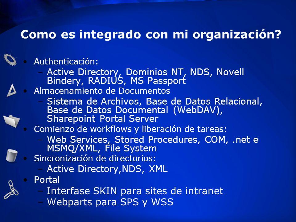 Como es integrado con mi organización? Authenticación: –Active Directory, Dominios NT, NDS, Novell Bindery, RADIUS, MS Passport Almacenamiento de Docu