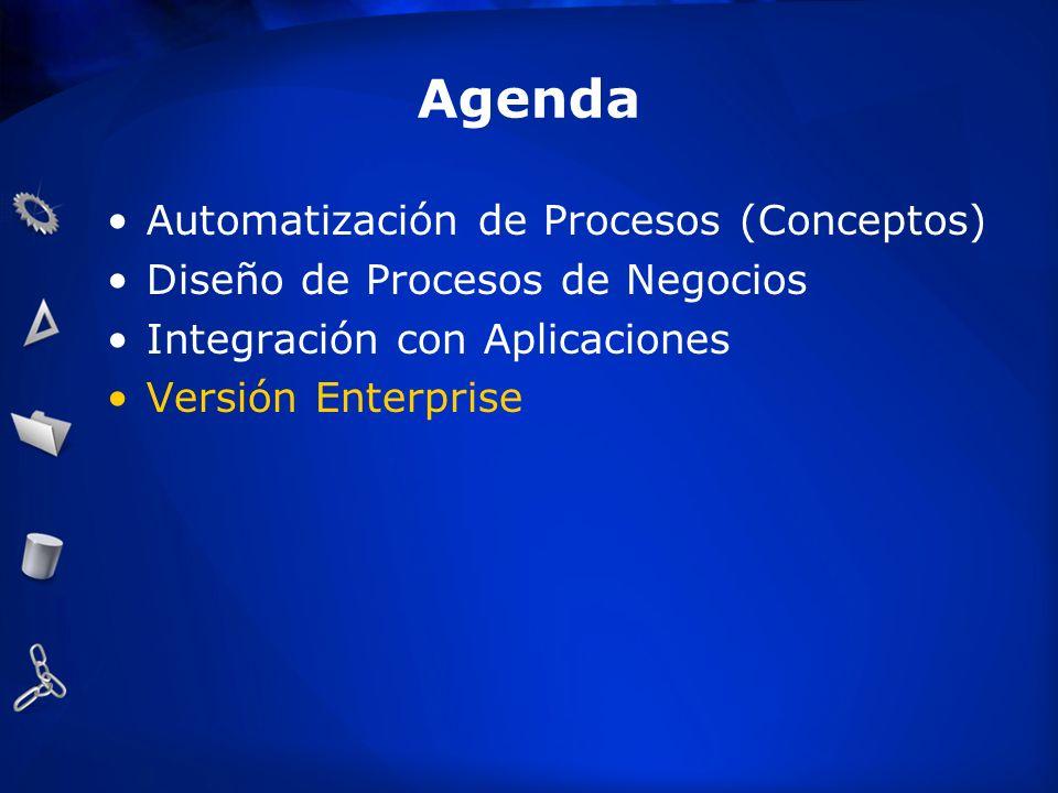 Agenda Automatización de Procesos (Conceptos) Diseño de Procesos de Negocios Integración con Aplicaciones Versión Enterprise