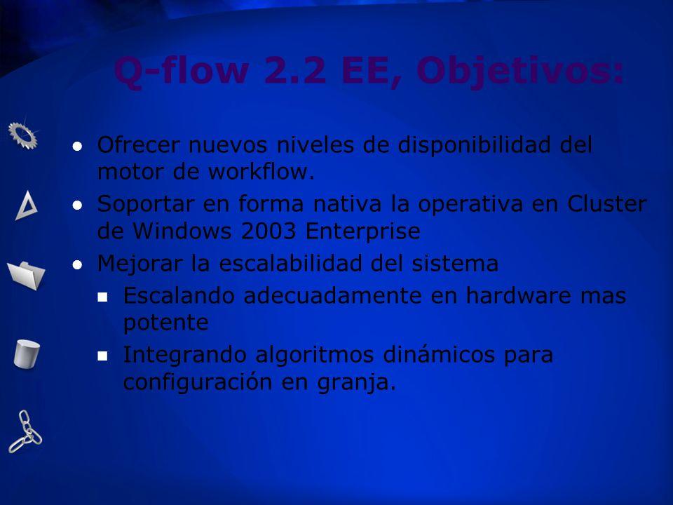 Q-flow 2.2 EE, Objetivos: Ofrecer nuevos niveles de disponibilidad del motor de workflow. Soportar en forma nativa la operativa en Cluster de Windows