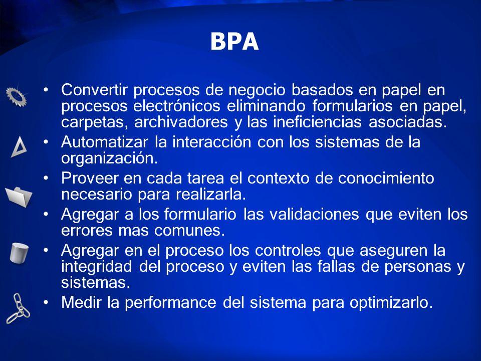 BPA Convertir procesos de negocio basados en papel en procesos electrónicos eliminando formularios en papel, carpetas, archivadores y las ineficiencia