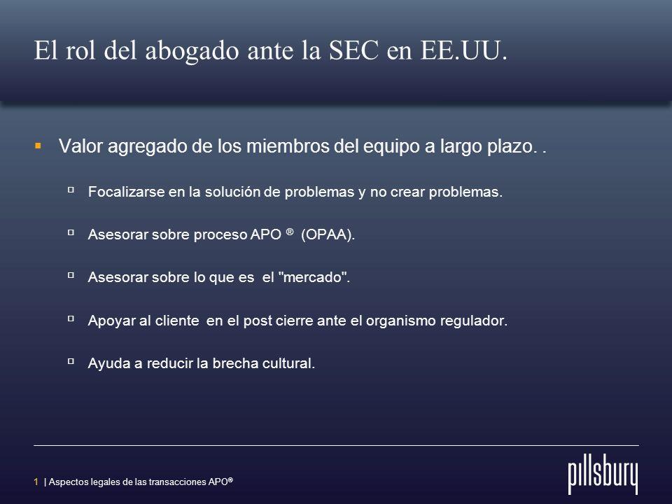 1 | Aspectos legales de las transacciones APO ® El rol del abogado ante la SEC en EE.UU.