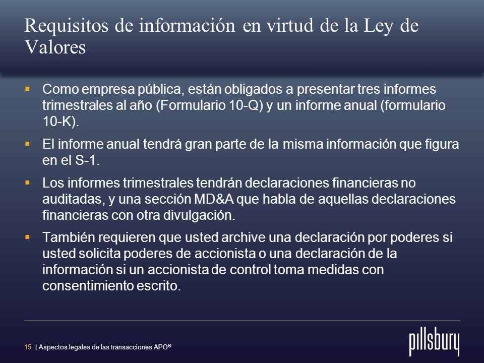 14 | Aspectos legales de las transacciones APO ® Requisitos de información en virtud de la Ley de Valores Impone obligaciones de información continua