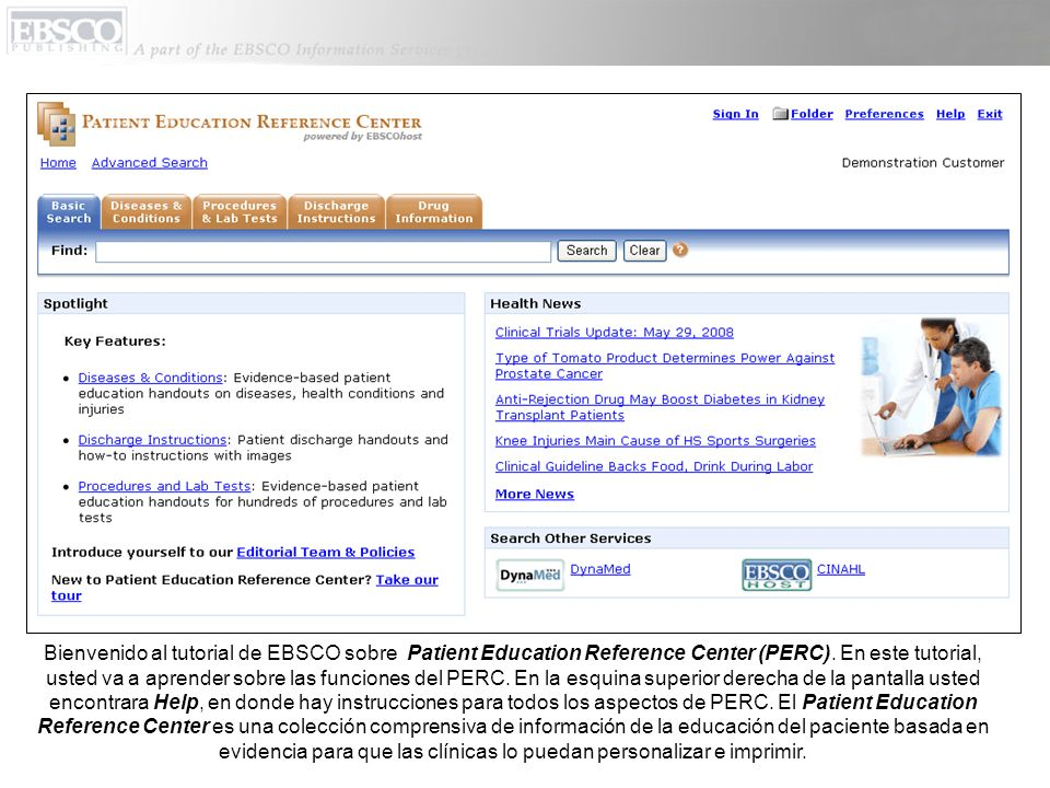 Bienvenido al tutorial de EBSCO sobre Patient Education Reference Center (PERC).