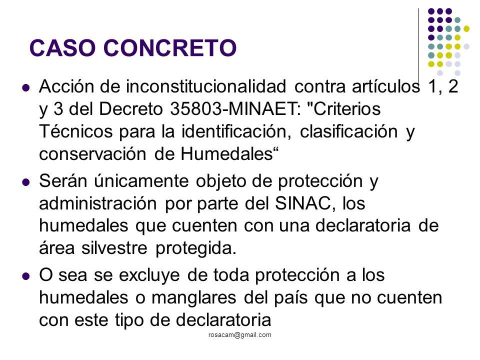 CASO CONCRETO Acción de inconstitucionalidad contra artículos 1, 2 y 3 del Decreto 35803-MINAET: