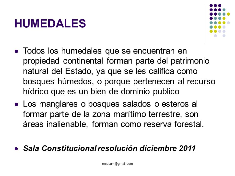 HUMEDALES Todos los humedales que se encuentran en propiedad continental forman parte del patrimonio natural del Estado, ya que se les califica como b