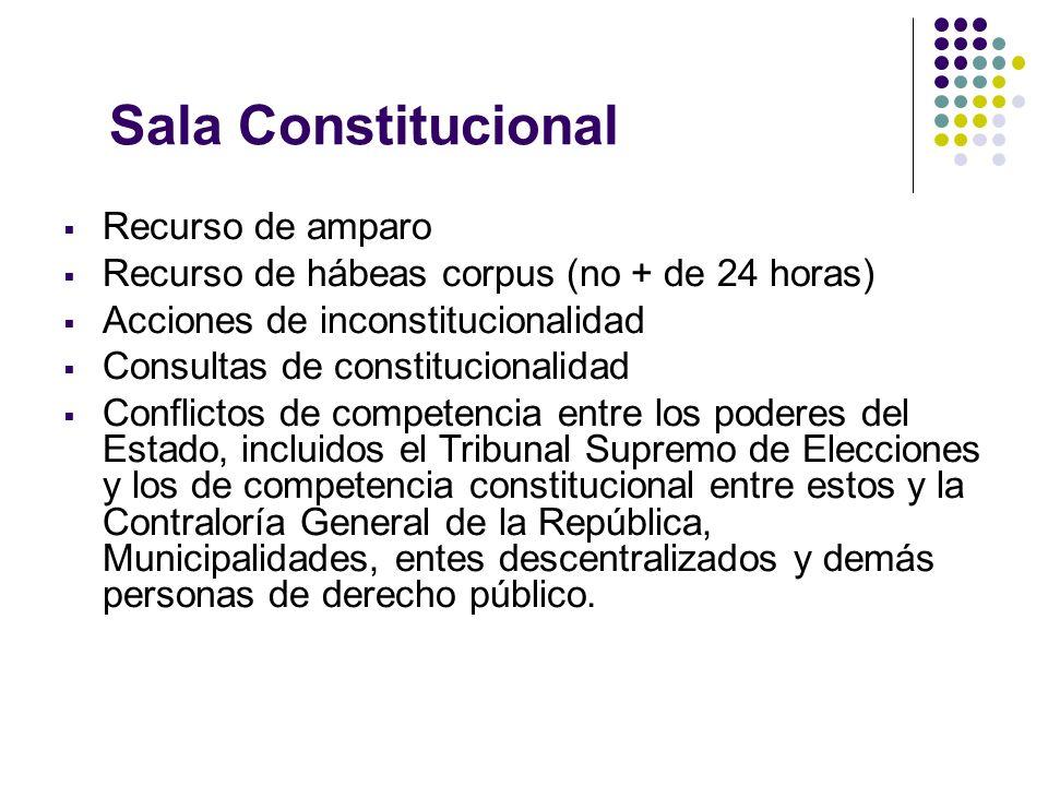Sala Constitucional Recurso de amparo Recurso de hábeas corpus (no + de 24 horas) Acciones de inconstitucionalidad Consultas de constitucionalidad Con