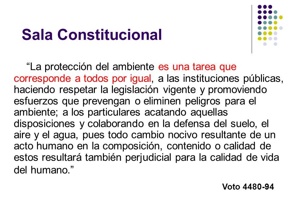 Sala Constitucional La protección del ambiente es una tarea que corresponde a todos por igual, a las instituciones públicas, haciendo respetar la legi
