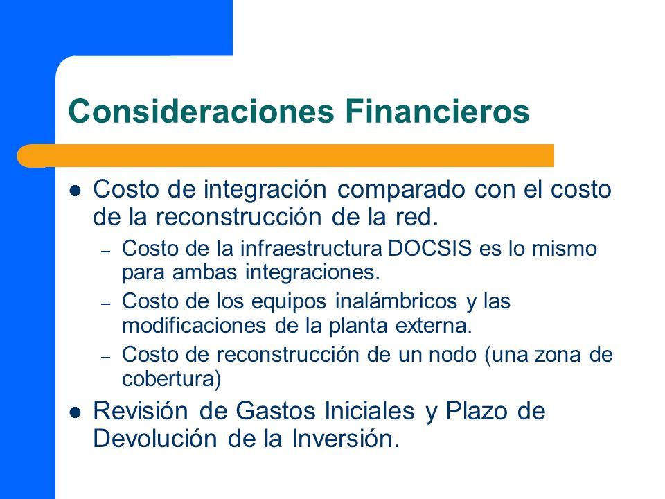 Consideraciones Financieros Costo de integración comparado con el costo de la reconstrucción de la red. – Costo de la infraestructura DOCSIS es lo mis