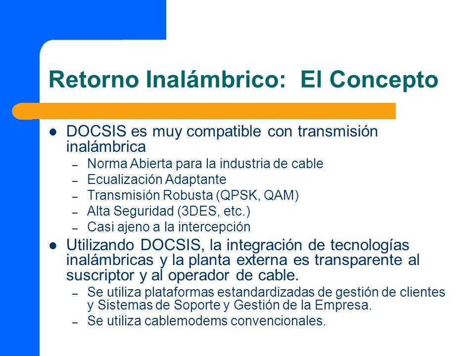 DOCSIS es muy compatible con transmisión inalámbrica – Norma Abierta para la industria de cable – Ecualización Adaptante – Transmisión Robusta (QPSK,