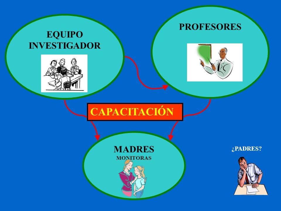 MADRES MONITORAS PROFESORES EQUIPO INVESTIGADOR CAPACITACIÓN ¿PADRES?