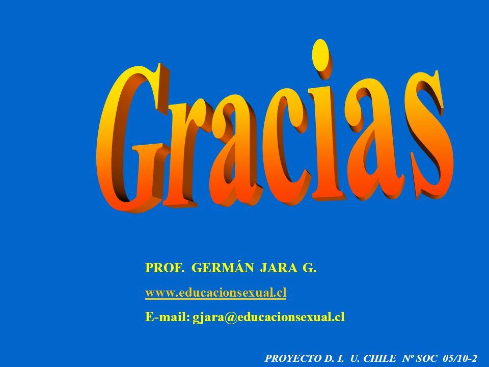 PROYECTO D. I. U. CHILE Nº SOC 05/10-2 PROF. GERMÁN JARA G. www.educacionsexual.cl E-mail: gjara@educacionsexual.cl