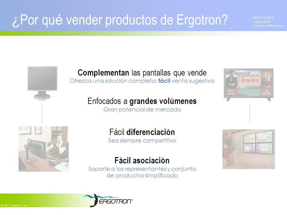 More motion Less effort Feel the difference © 2007 Ergotron, Inc. ¿ Por qu é vender productos de Ergotron? Complementan las pantallas que vende Ofrezc