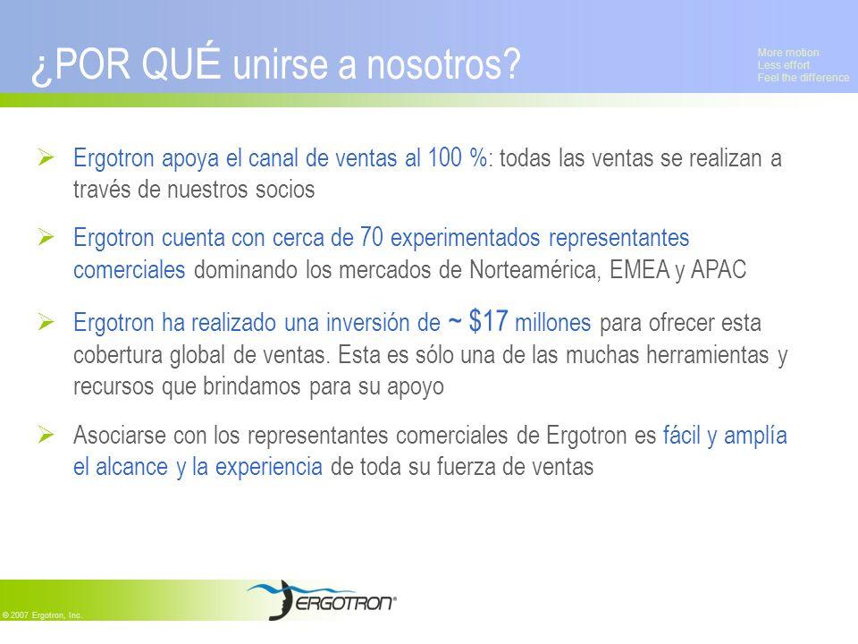 More motion Less effort Feel the difference © 2007 Ergotron, Inc. ¿ POR QU É unirse a nosotros? Ergotron apoya el canal de ventas al 100 %: todas las
