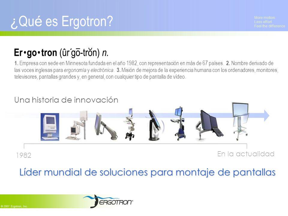 More motion Less effort Feel the difference © 2007 Ergotron, Inc. ¿ Qu é es Ergotron? 1. Empresa con sede en Minnesota fundada en el año 1982, con rep