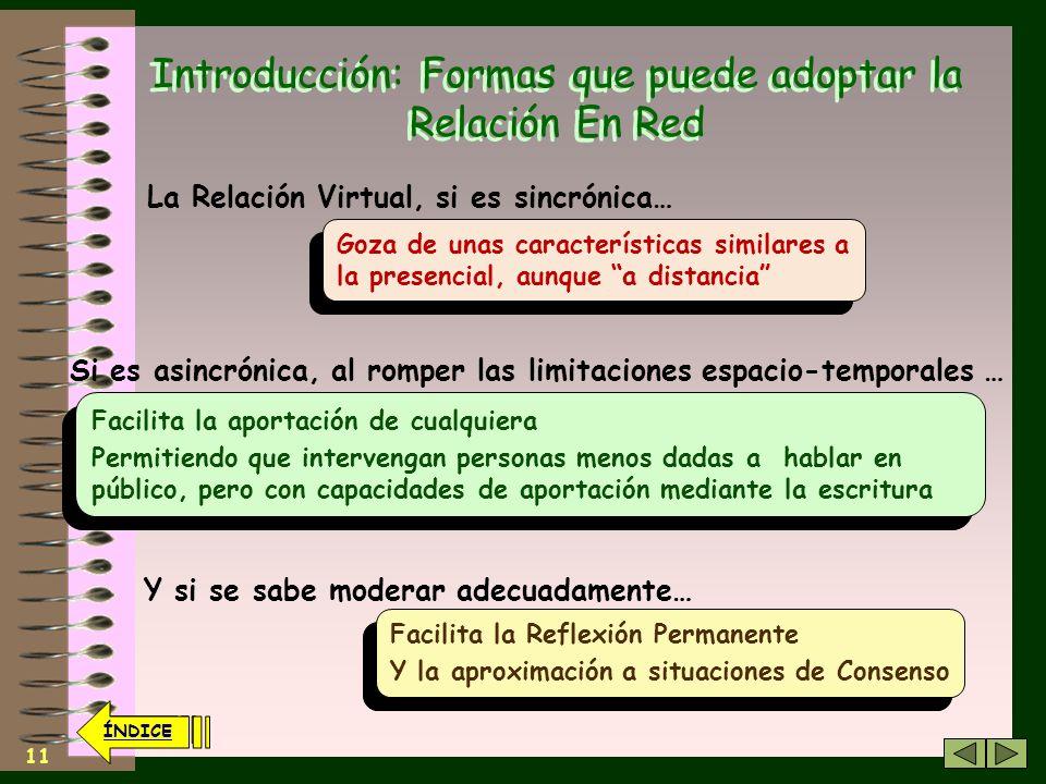 10 ÍNDICE Introducción: Formas que puede adoptar la Relación En Red Una reunión, una mesa de propaganda… Su actuación es puntual… Durante el cual, sue