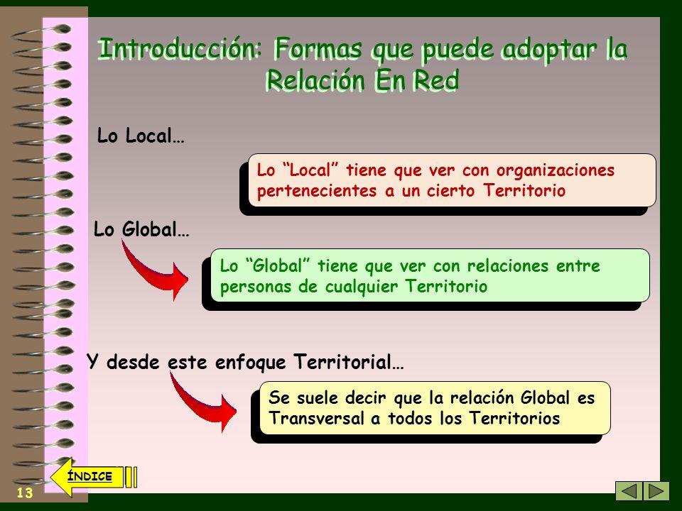 12 ÍNDICE Introducción: Formas que puede adoptar la Relación En Red Las formas sincrónicas facilitan encuentros puntuales con una capacidad de decisió